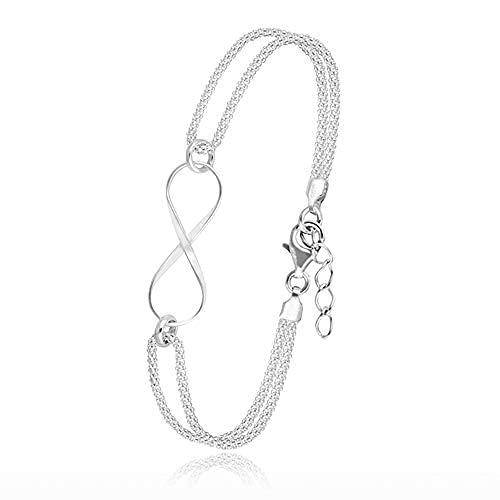 Pulsera de plata de ley 925 para mujer con cadena de extensión ajustable de 18 cm + 3 cm para mujer