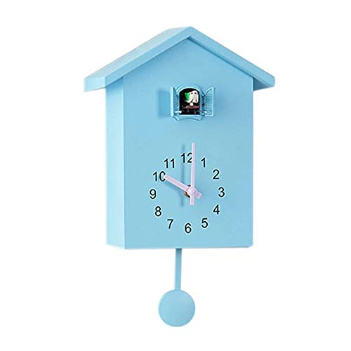 hufeng Reloj de pared de cuco, reloj de pared, estilo chalet, minimalista, moderno, color azul