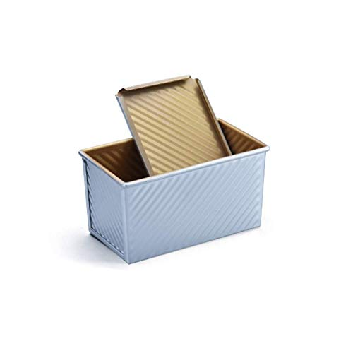 GJJSZ Toast Classique Pain Boîte Moule 450 Vague Motif Anti-adhérent Moule Outil Four Ménage Facile À Retirer Matériau en Alliage D'aluminium (avec Couvercle) (Couleur:Or)