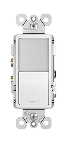 Legrand radiant Night Light, 3-Way 15 Amp Decorator Rocker NightLight Switch for Hallways or Kids Bedrooms, Decorator Wall Plate, White, NTL873WCC6