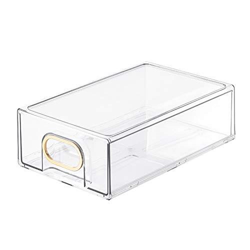 Runtodo Organizador de refrigerador, cajones organizadores de gabinetes y almacenamiento para congeladores, encimeras, color dorado