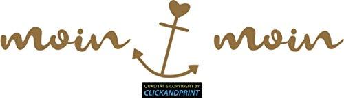 CLICKANDPRINT Aufkleber » Moin Moin, 20x4,7cm, Gold Metallic • Dekoaufkleber/Autoaufkleber/Sticker/Decal/Vinyl
