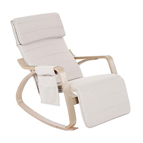 HOMCOM Wooden Rocker Rocking Lounge Chair Recliner Relaxation Lounging Relaxing Seat with Adjustable Footrest & Side Pocket & Cushion (Cream White)