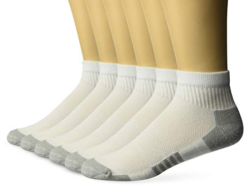 Amazon Essentials Men's 6-Pack Performance Cotton Cushioned Athletic Ankle Socks, White, Shoe Size: 6-12