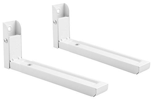 RICOO Mikrowellen Halterung für die Wand WM0106 Mikrowellenhalterung Küche Kombination mit ohne Ofen Umluft Heißluft | 2 Stück Paar Weiß