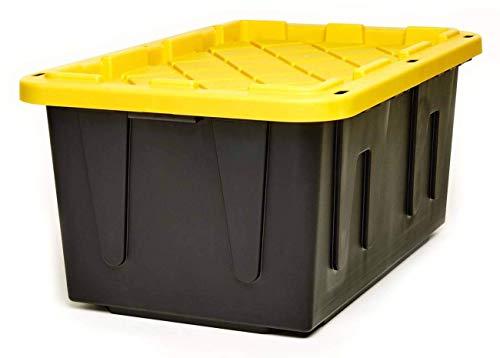 Homz Tough Durabilt Tote Box 27 Gallon Stackable 2 Pack BlackYellow 2 Pack