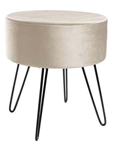 Zedelmaier Runder Sitzhocker Schminktisch Hocker Ottoman Gepolsterter Hocker Abnehmbarer Bezug Metallstütze (Beige ohne Stauraum)