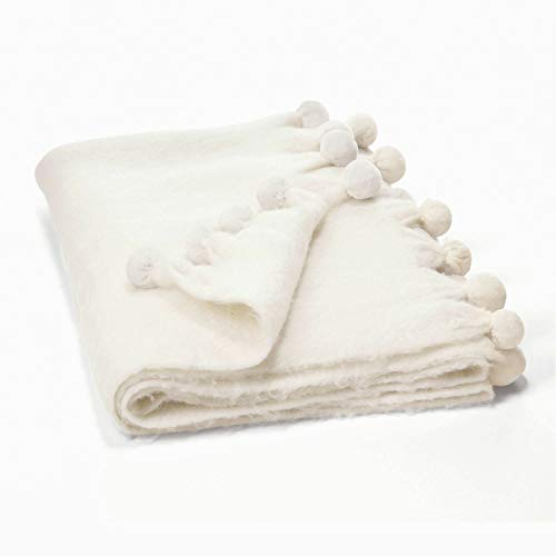 Loberon Plaid Mencia, Acryl/Wolle, H/B ca. 170/130 cm, weiß