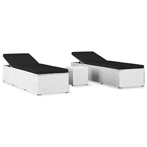 vidaXL Sonnenliege mit Teetisch 3-TLG. Gartenliege Gartenmöbel Liege Beistelltisch Relaxliege Strandliege Liegestuhl Freizeitliege Poly Rattan Weiß