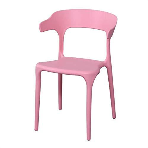 CIJK Silla Moderna Minimalista de plástico, UV y Resistente Muebles de jardín, Silla de jardín de plástico apilable de Espalda para la Fiesta al Aire Libre Patio,Rosado