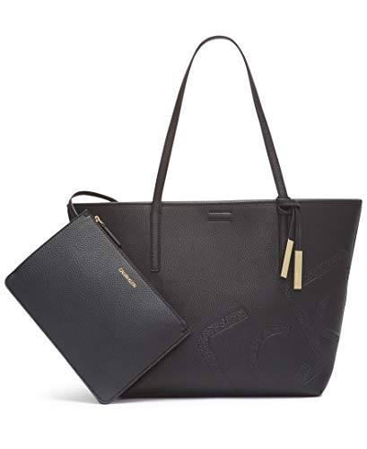 Calvin Klein Rachel Novelty East/West Key Item Tote, Black/Gold Emboss