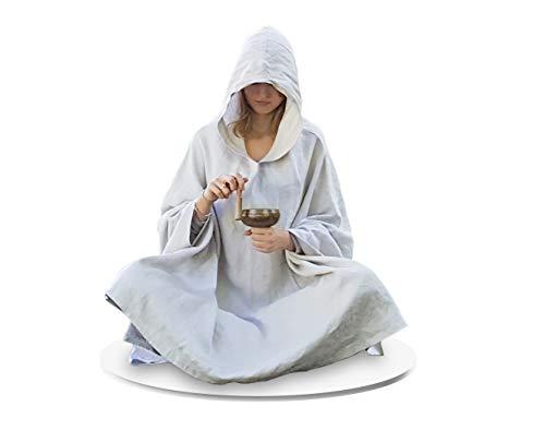 Live Up Meditationsumhang - Leinen-Mantel mit Kapuze Cape Unisex Yoga-buddhistische Entspannungs-Robe der Frauen der Frauen (Standard 130cm, Kokos weiß)