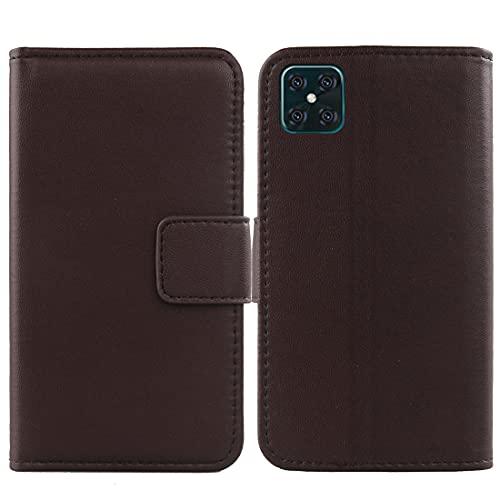 LANKASHI Genuino Cuero Funda Carcasa Protección De Piel para XGODY A72 6.6' Flip Folio Billetera Cover Book Wallet Premium Leather Case (Marrón Oscuro)
