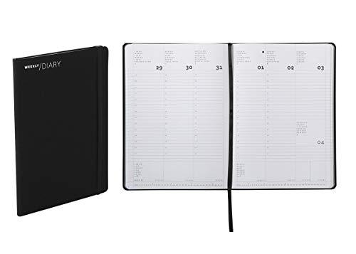 Agenda 2020 settimanale, chiusura a elastico, 17 × 24 cm colore nero