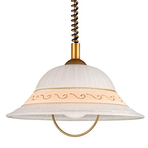 Helios Leuchten 209009 Landhaus LED Pendellampe | Hängelampe Leuchte Esstisch | Pendelleuchte Glas weiss gold | Küchenlampe Landhausstil | Deckenlampe höhenverstellbar 1-flammig