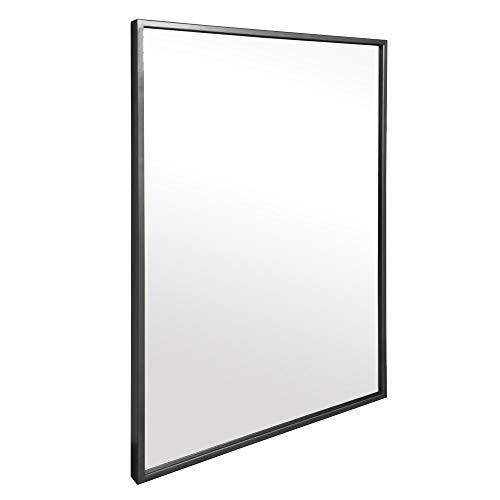 Elegance by Casa Chic - Schwarzer Wandspiegel aus Metall - 50 x 70 cm - Galvanisiertes Metall - Ideal für Badezimmer und Wohnzimmer - Schwarz