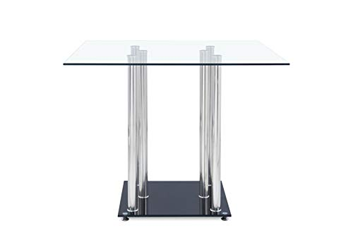 Global Furniture USA D368DT-Global Furniture Piece Dining Table Clear/Black