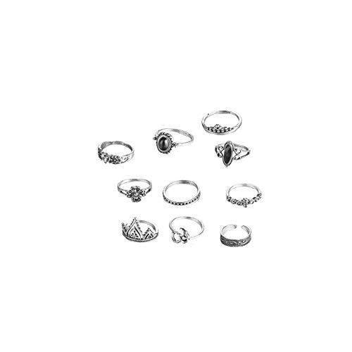 Gcroet 10 PC-Finger-Ring-Satz, Joint Ringe, Knöchel-Ring-Satz, Weinlese-Kristall Knöchel-Ring-Set
