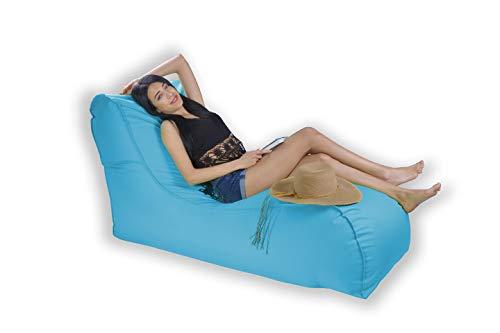 Easysitz Sitzsack Liege Outdoor mit Lehne 135x65x70 cm Sitzsäcke Indoor Relax Lounge Groß Liegesessel Liegekissen Liegematte für Kinder Erwachsene Innensack Wasserfest Waschbar (XL - Türkis)