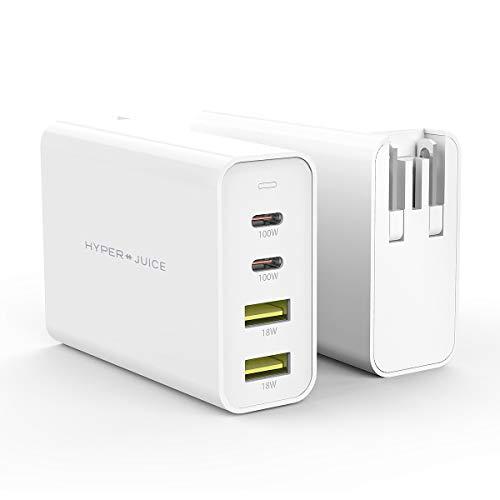 【Hyper】HyperJuice GaN 100W Dual USB-C/USB-A ACアダプタ【急速充電器 / 4台同時充電 / 世界最小クラス ...