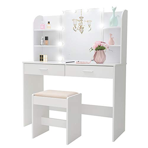 USIKEY Large Vanity Set with 10 Light Bulbs, Makeup Table with Cushioned Stool, 6 Storage Shelves 2 Drawers, Dressing Table Dresser Desk for Women, Girls, Bedroom, White