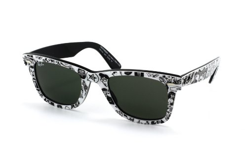 Ray-Ban RB 2140-1047 OUTSIDERS/ORIGINAL WAYFARERS Text. Gafas de sol negras con lentes verdes de cristal - 50 mm