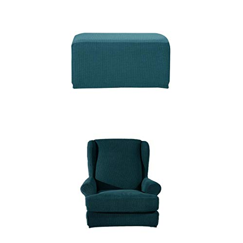 FLAMEER Stuhlbezug Stuhlhusse Stretch Husse Bezug Abdeckung für Hocker + Ohrensessel Fernsehsessel - Dunkelgrün