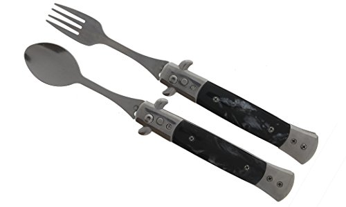 4' Automatic spoon& fork with faux marble handle (Black)