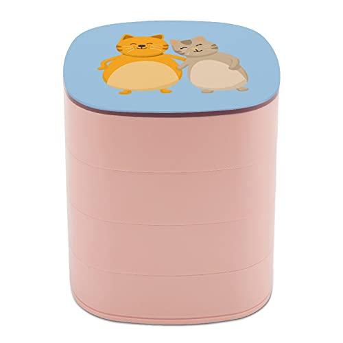 Rotar la caja de joyería diseño divertido lindo gato gordo animal joyería caja pequeña con espejo, diseño de múltiples capas plato de joyería para mujeres niña