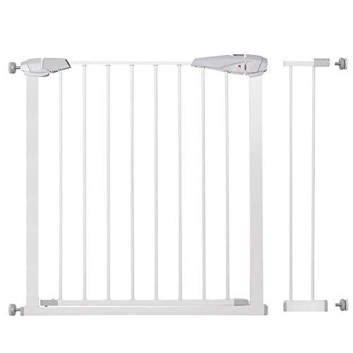 SPRINGOS Sicherheitsbarriere   Baby Türschutzgitter   Treppenschutzgitter   Schutzgitter 76-85 cm mit Verlängerungen 14 cm   sicher stabil (90-99 cm)