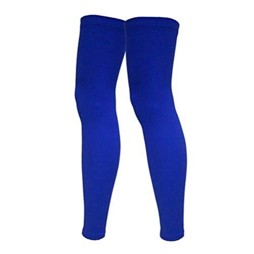 Wakauto 1 par professionella sport knä och ben strumpor solskydd och fitness skydd strumpor för kvinnor (blå storlek L)