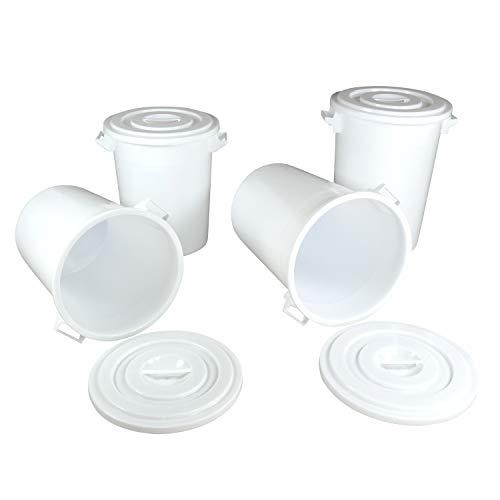 75 Liter Eimer mit Deckel Universaltonne lebensmittelecht Kübel Wassertonne Futtertonne Behälter Vorratstonne Industrieeimer Lebensmittelbehälter Gastrobedarf Kunststofffass Allzwecktonne Futtertonne