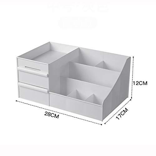 Wddwarmhome Boîte de rangement en plastique, type de tiroir en plastique, rouge à lèvres de bureau, boîte de finition pour soins de la peau (Color : Gray, Size : 35 * 21.5 * 16cm)