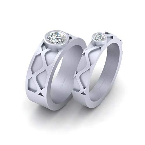 Anillo de plata de ley 925 maciza de 0,60 quilates con diamantes de aniversario para él y ella a juego para parejas