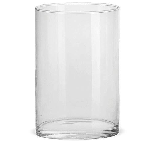 matches21 Jarrones de cristal, jarrones de cristal, jarrones de flores, cilindro, jarrones decorativos, cristal transparente, vasos decorativos, alto cilíndrico, redondo, 1 unidad, 3 tamaños