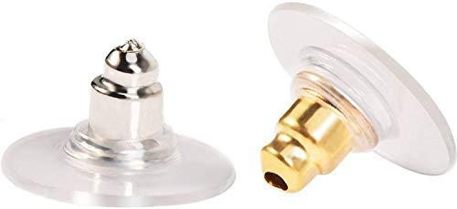 TYTF Pendientes, topes de bola, pendientes de goma transparente, cierres de silicona (plata y oro)