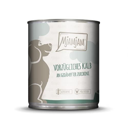 MjAMjAM Mangime Umido per Cani, Delizioso Vitello Accompagnato da Zucchine Cotte al Vapore, Genuino - Pacco da 6 x 800 g