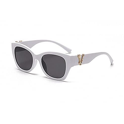 Gafas de sol transfronterizas Retro Moda Red Big Frame Wild Ladies Gafas de sol tendencia para mujer Uv400, Hoja gris con marco blanco sólido C4,