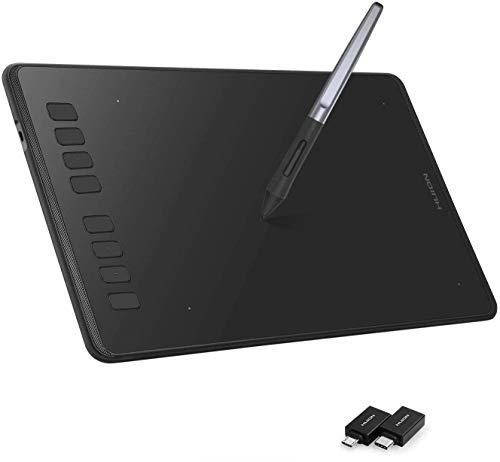 HUION Inspiroy H950P Grafiktablett, Grafiktablett mit 8 Benutzerdefinierten Drucktasten, 8192 Ebenen Batterieloser Stift mit Neigefunktion, Zeichenblock Kompatibel mit PC und Android-Gerät