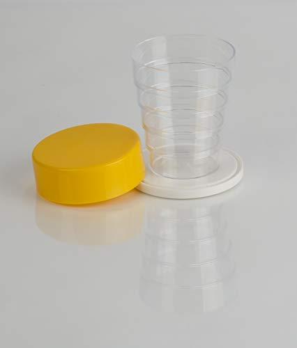 Kimmel Vaso plegable con espejo para camping, picnic, viajes, hogar, cristal amarillo transparente, tamaño único