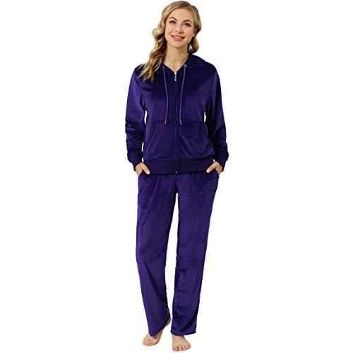 Jogging Suits for Women Set Petite Track Suit Two 2 Piece Outfits Velvet Tracksuit Sets Velour Zip Up Hoodie Sweatshirt & Sweatpants Sweatsuits(Purple, S)