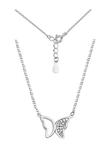 *Beforya Paris* - Silber 925 Berühmtheit Schmetterling mit Zirconia Swarovski - Halskette - Wunderbare Damen Halskette mit Geschenkbox
