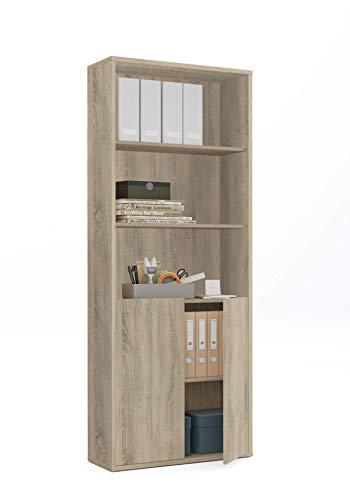 Muebles Pitarch 6092 Estantería, Roble Cambrian, 196.5 x 75.5 x 33 cm