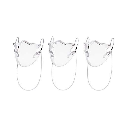 Feelcrag Unbegrenzt Wieder-Verwendbarer Mund und Nasen-Schutz, Gesicht-Anliegende Klarsicht-Maske, Transparente Community-Maske mit Ohren-Bügel, Plastik Mund-Schutz mit Anti-Beschlag (3 Stück)