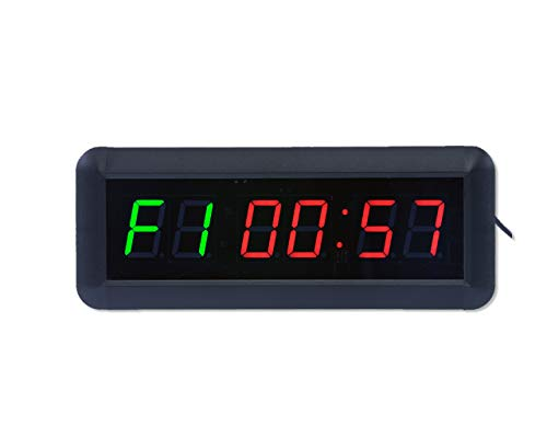 "EYOU 1.5"" High 6 Digits Interval Clock For Home Gym. (Red+Green)"