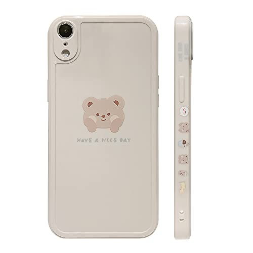 Ownest Compatible with iPhone XR Case Cute Painted Design Brown Bear with Cheeks for Women Girls Fashion Slim Soft Flexible TPU Rubber for iPhone XR-Beige