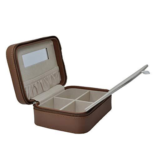 Mon Amour Reise Schmucktasche Schmuckrolle, Handgefertigt mit Einsätzen aus echtem Leder Kleine rechteckige Schmuckschatulle -