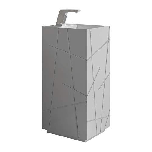 Springhill Collection Pedestal, Elegant Square Shaped Pedestal Sink, Gray Matte, Centerset Faucet Hole, Solid Surface