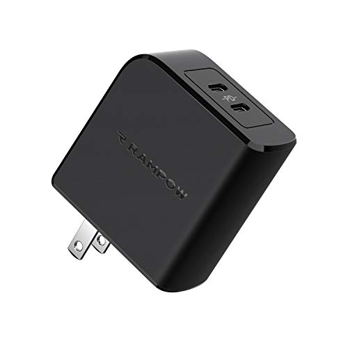 USB C Wall Charger, RAMPOW 45W Dual Port PD Charger, Type C Power Delivery Fast Charger, Foldable Adapter for MacBook Pro Air, Dell XPS 13, HP Spectre, iPad Pro, iPhone SE 11 Pro Max and More, Black