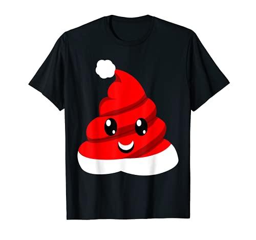 Caca de Navidad Emojis - Sombrero de Santa Niños Camiseta